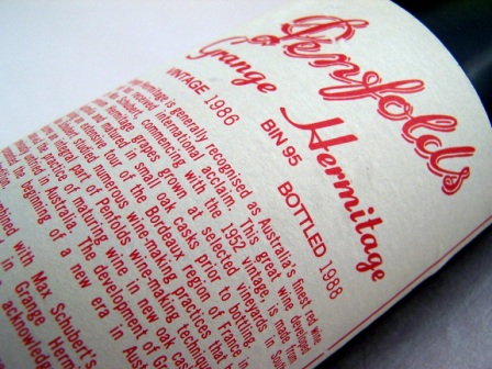 Penfolds Grange label
